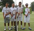 The finalists in the wooden raquet tournament