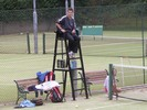 Mike Armstrong in the umpire's chair