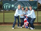 June Fisher with the GB Women's 65 team Gold trophy at the ITF Super Seniors World Team Competition